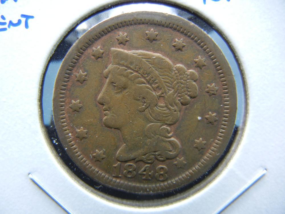 1848 Large Cent.  VF.  Nice.