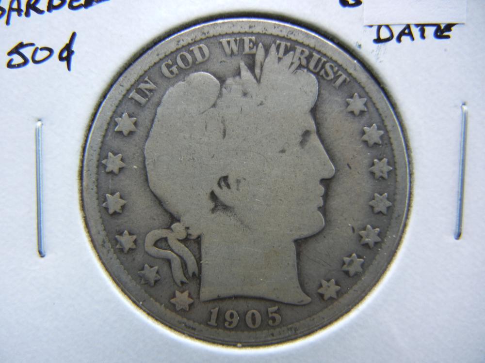 1905-O Barber 50c.  Good.  Better Date.