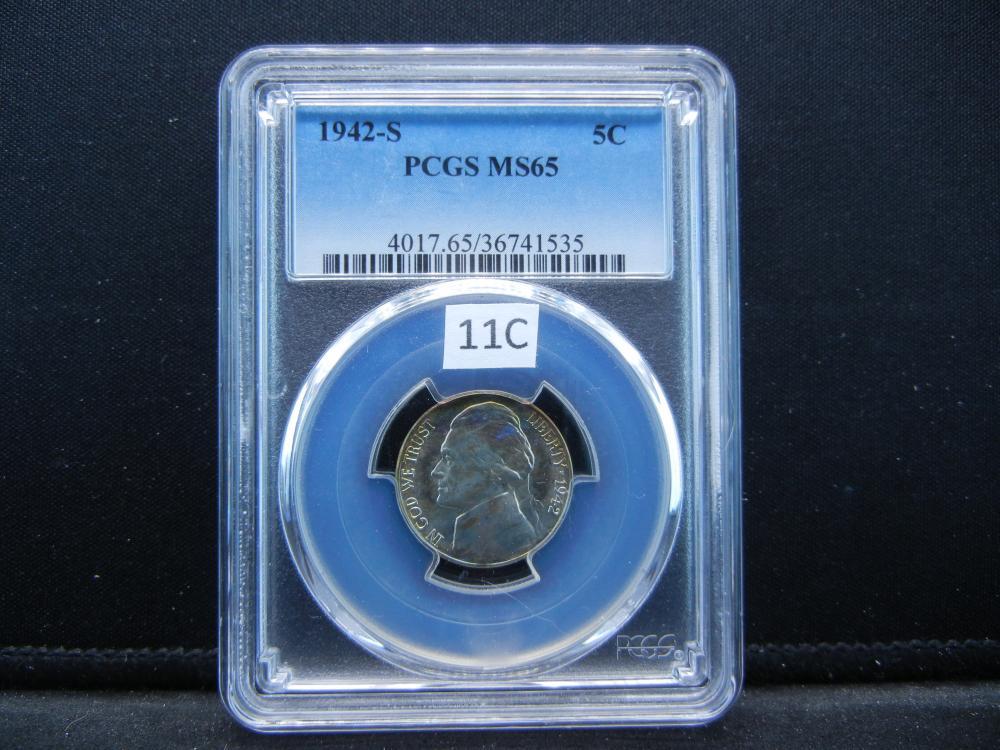 1942-S Jefferson Nickel .  PCGS MS65.