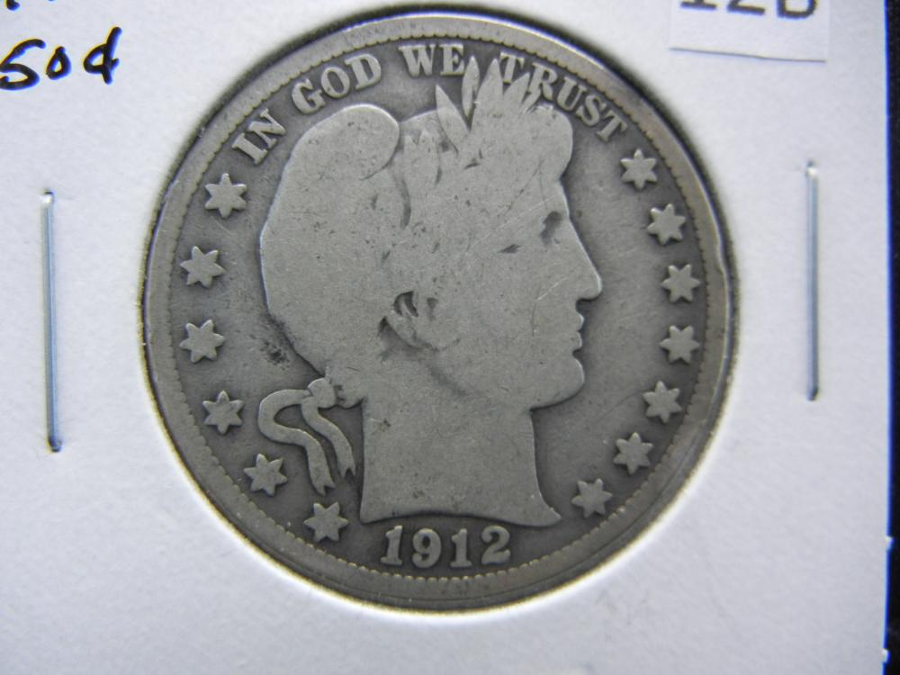 1912-S Barber Half Dollar.  Good.