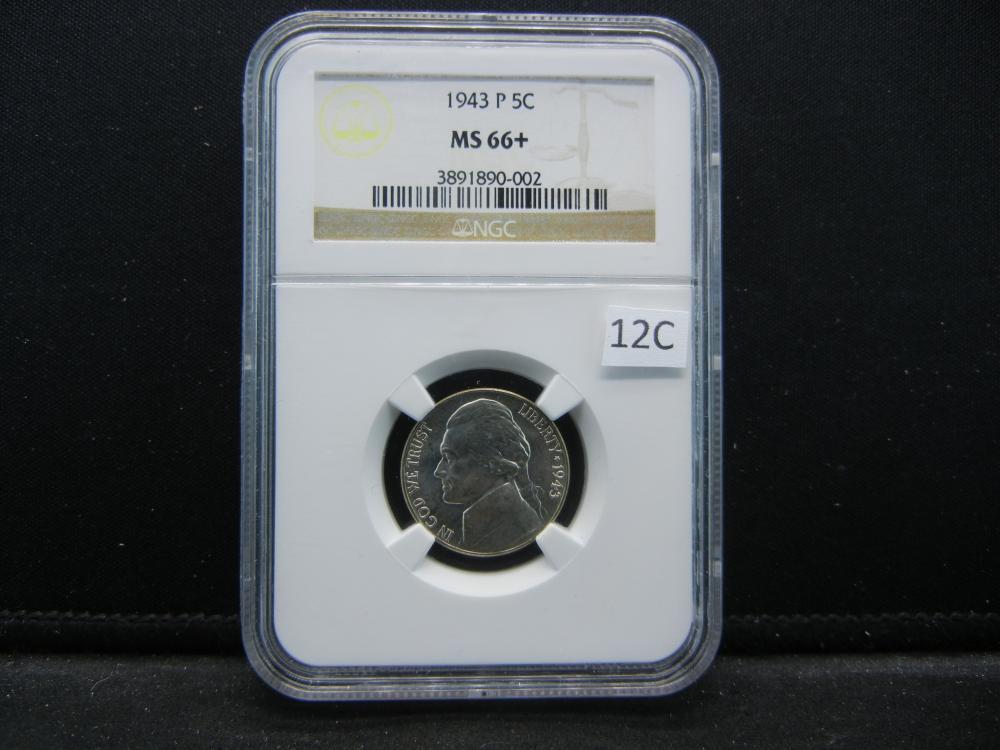 1943 P Jefferson Nickel .  NGC MS 66+.