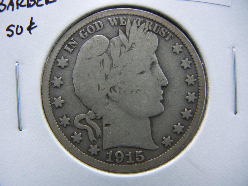 1915-S Barber Half Dollar.  VG.