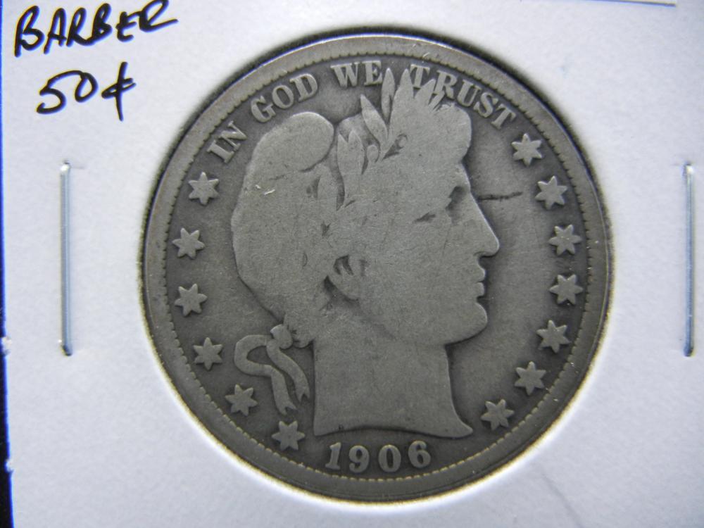 1906 Barber Half Dollar.  Good+.