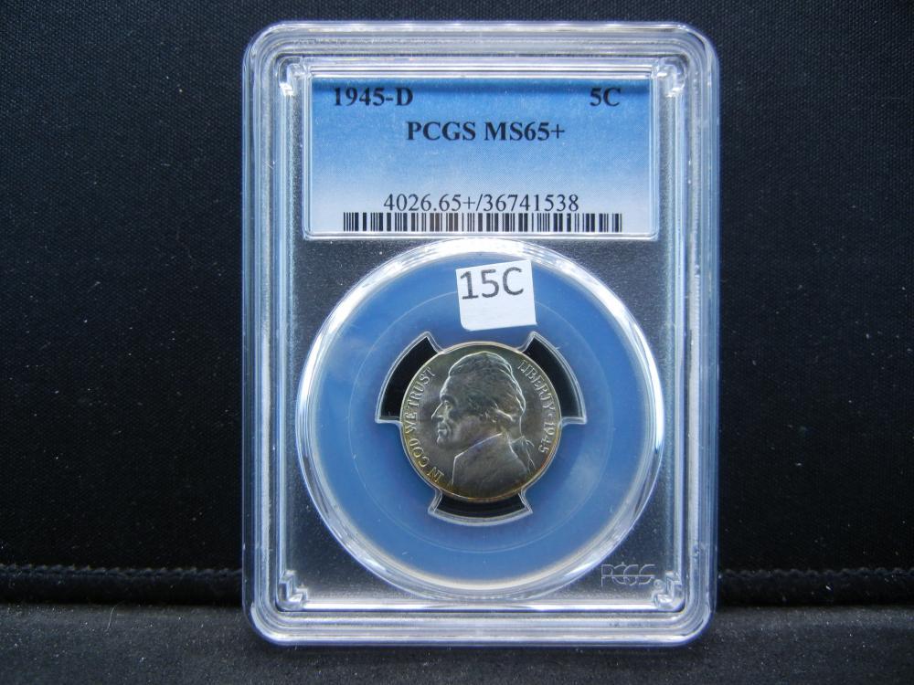 1945-D Jefferson Nickel .  PCGS MS65+.