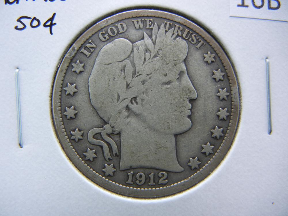 1912 Barber Half Dollar.  VG.