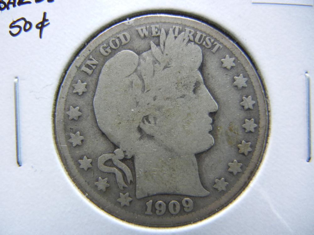 1909-S Barber Half Dollar.  Good.