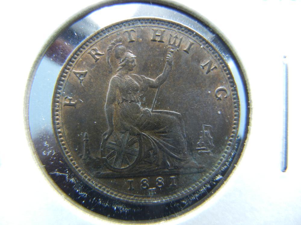 1881-H Great Britain Farthing.  Nice UNC.
