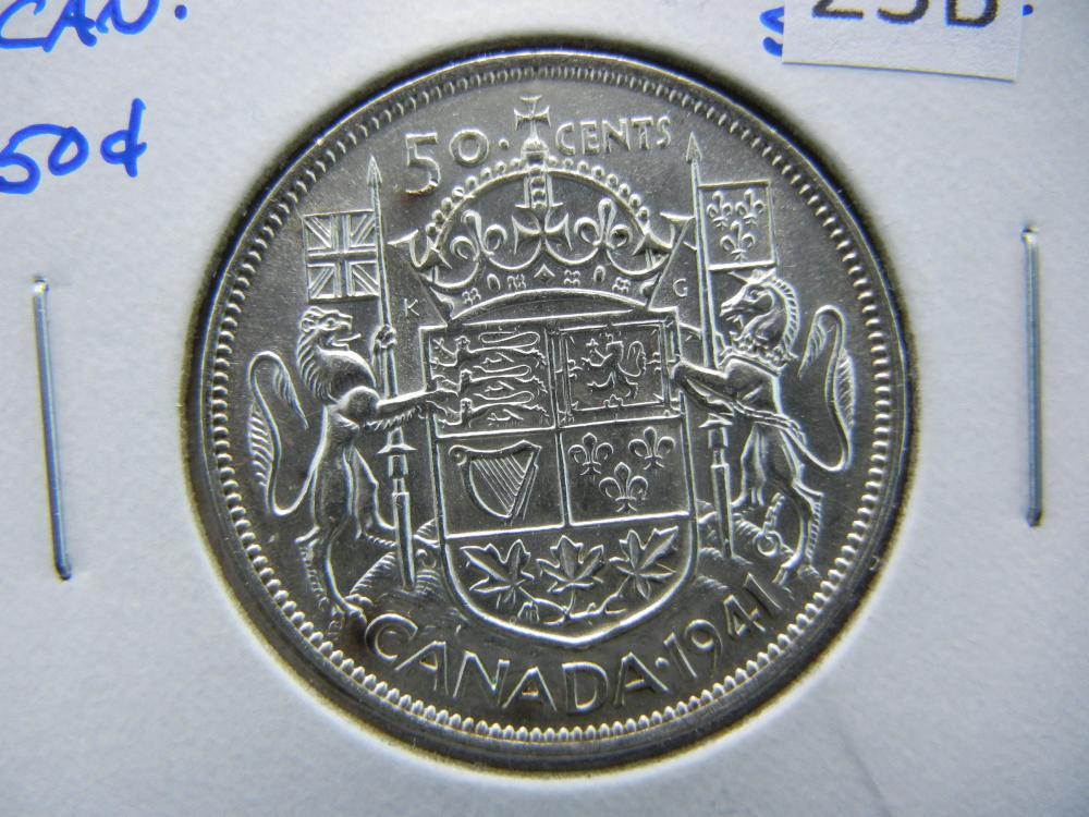 1941 Canada Half Dollar.  UNC.  Scarce.