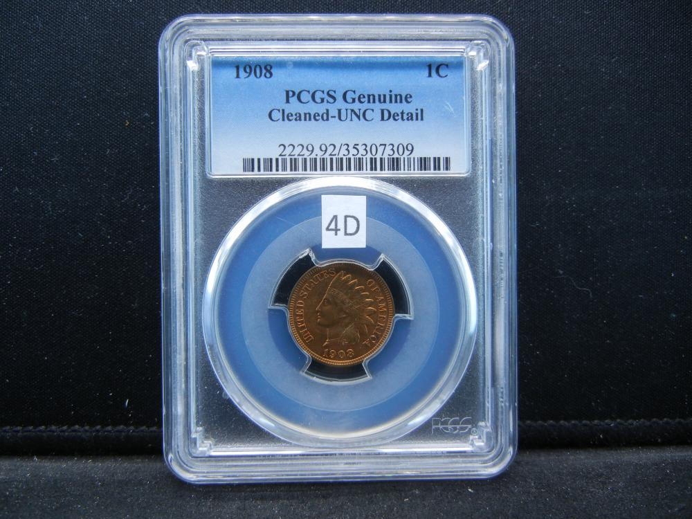 1908 Indian Head Cent  .  PCGS Genuine Cleaned-UNC Detail.