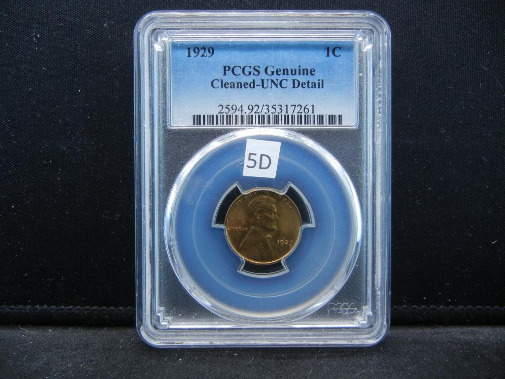 1929 Lincoln Wheat Cent  .  PCGS Genuine Cleaned-UNC Detail.