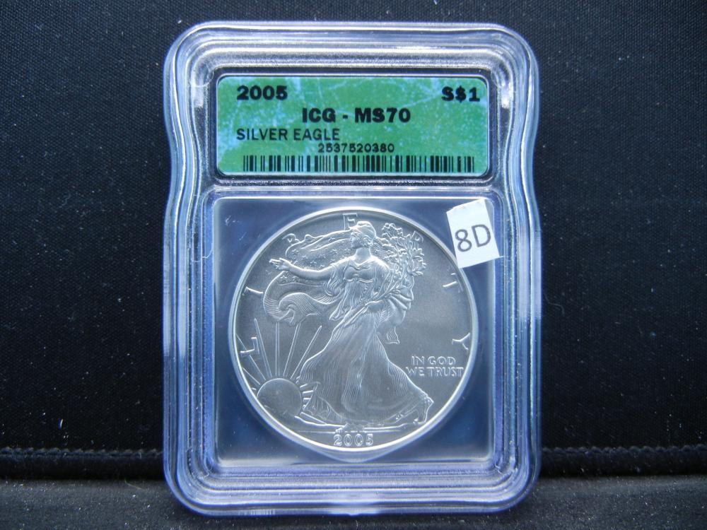 2005 S American Silver Eagle .  ICG - MS70 Silver Eagle.