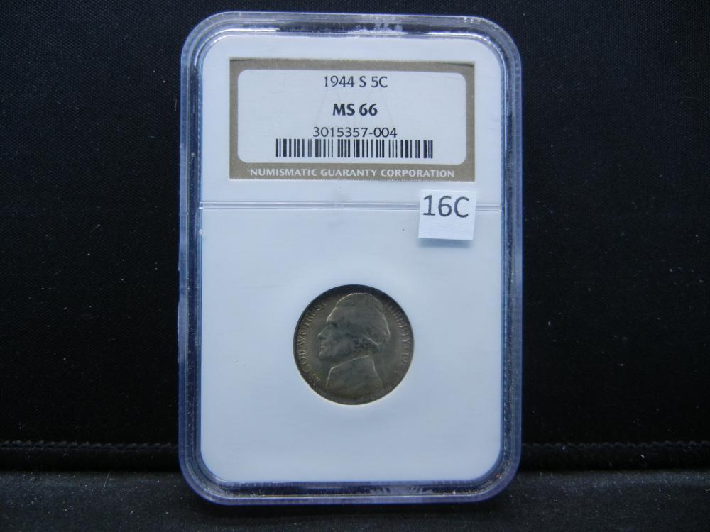 1944 S Jefferson Nickel .  NGC MS 66.