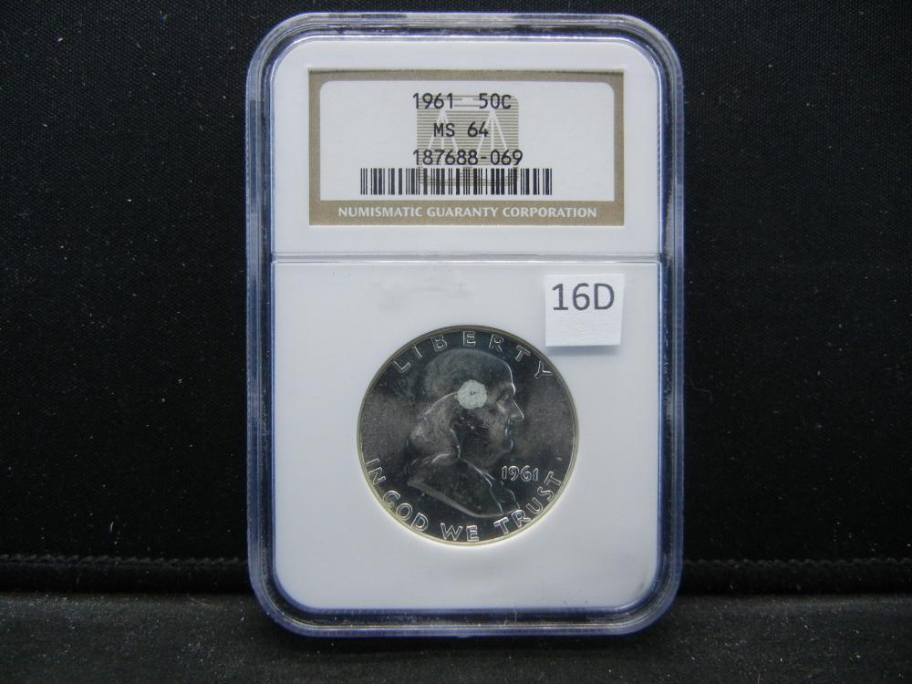 1961 Franklin Half Dollar .  NGC MS 64.