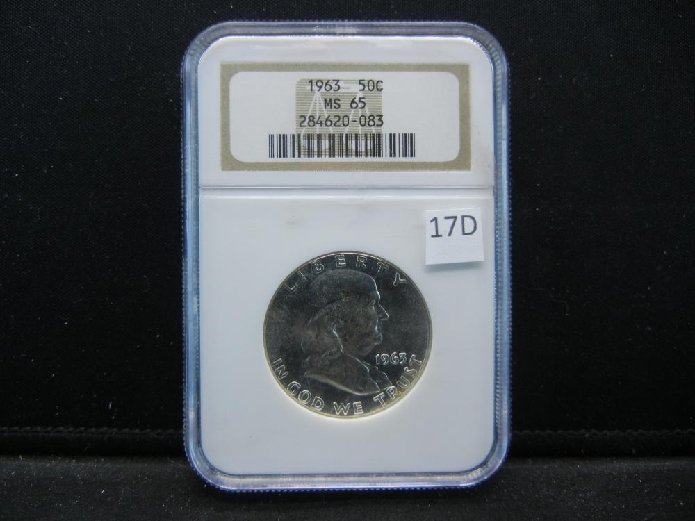 1963 Franklin  Half Dollar .  NGC MS 65.