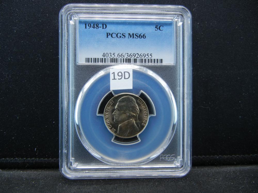1948-D Five Cent Piece .  PCGS MS66.
