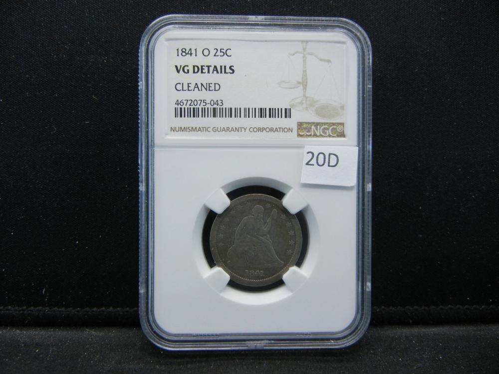 1841-O Seated Quarter . NGC VG Details. Cleaned.