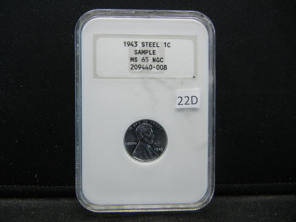 1943 Steel Cent .  NGC MS 65.  Sample.