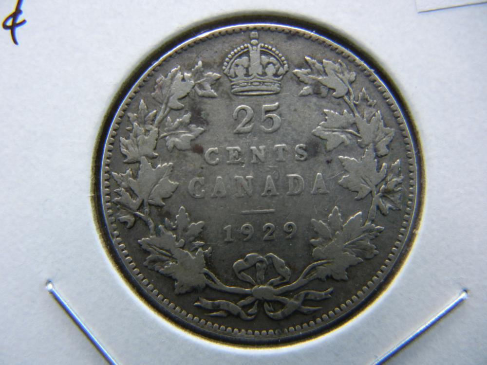1929 Canada Quarter .  Fine+.