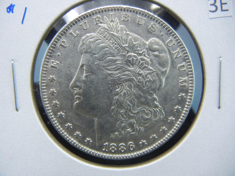 1886 Morgan $1.  AU/UNC.
