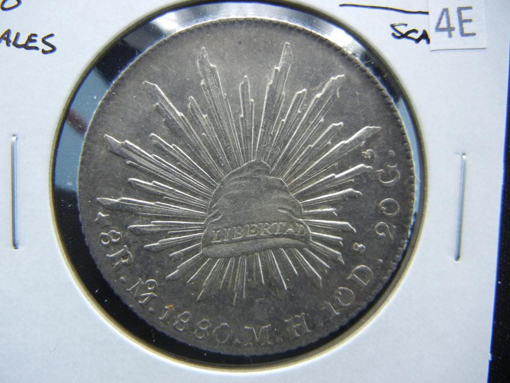 1880 Mexico 8 Reales.  Nice UNC.  Scarce.
