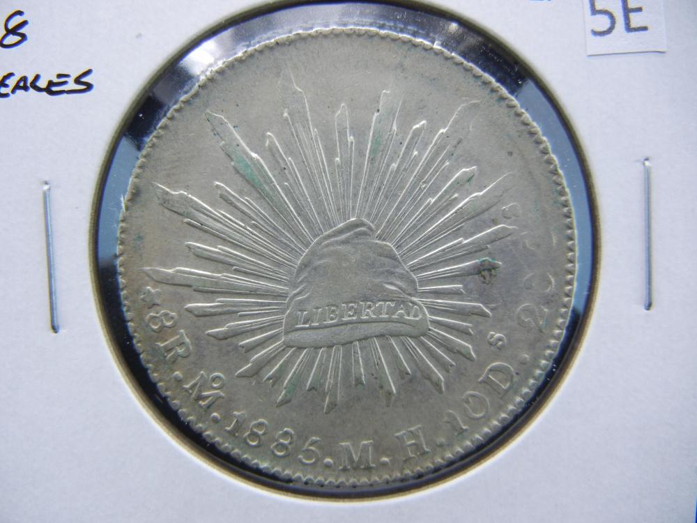 1886 Mexico 8 Reales.  AU+.  Scarce.