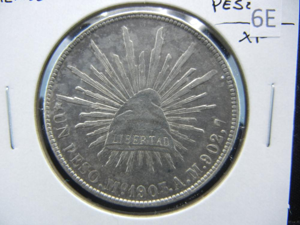1903 Mexico Silver 1 Peso.  XF.