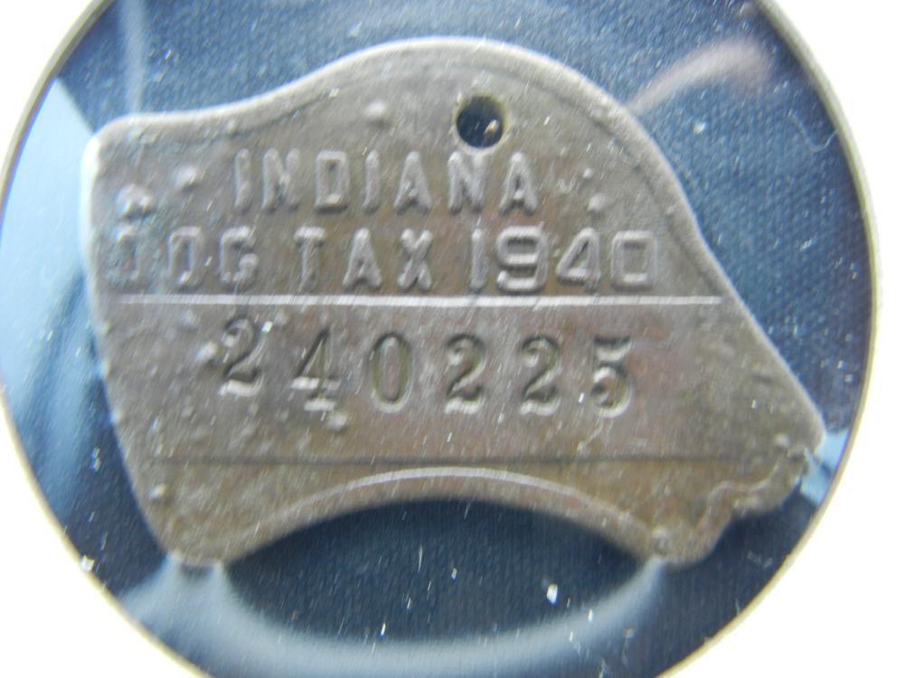 1940 Indiana Dog Tax Tag.  Shape of Dog Head.