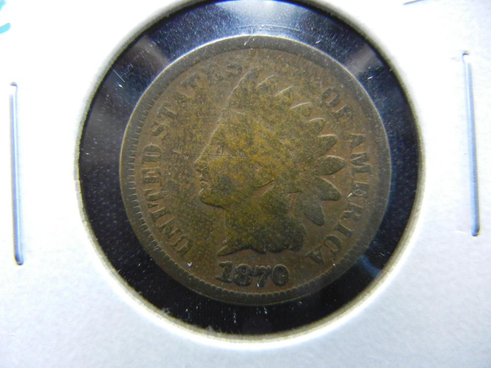 1870 Indian One Cent .  VG.  Rare Date.