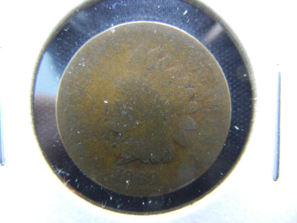 1869 Indian One Cent .  AG.  Rare Date.
