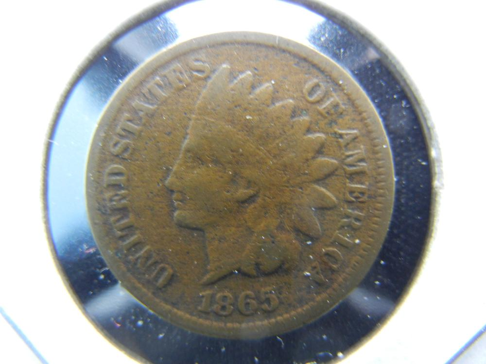 1865 Indian One Cent .  Fine Details.