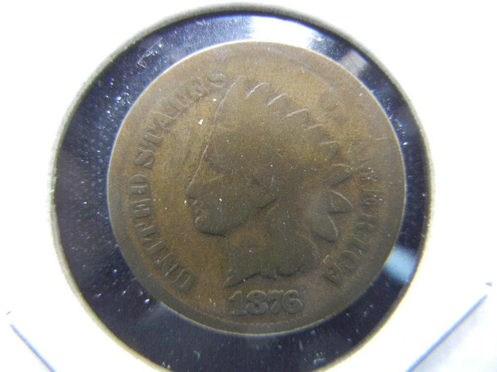 1876 Indian One Cent .  VG.