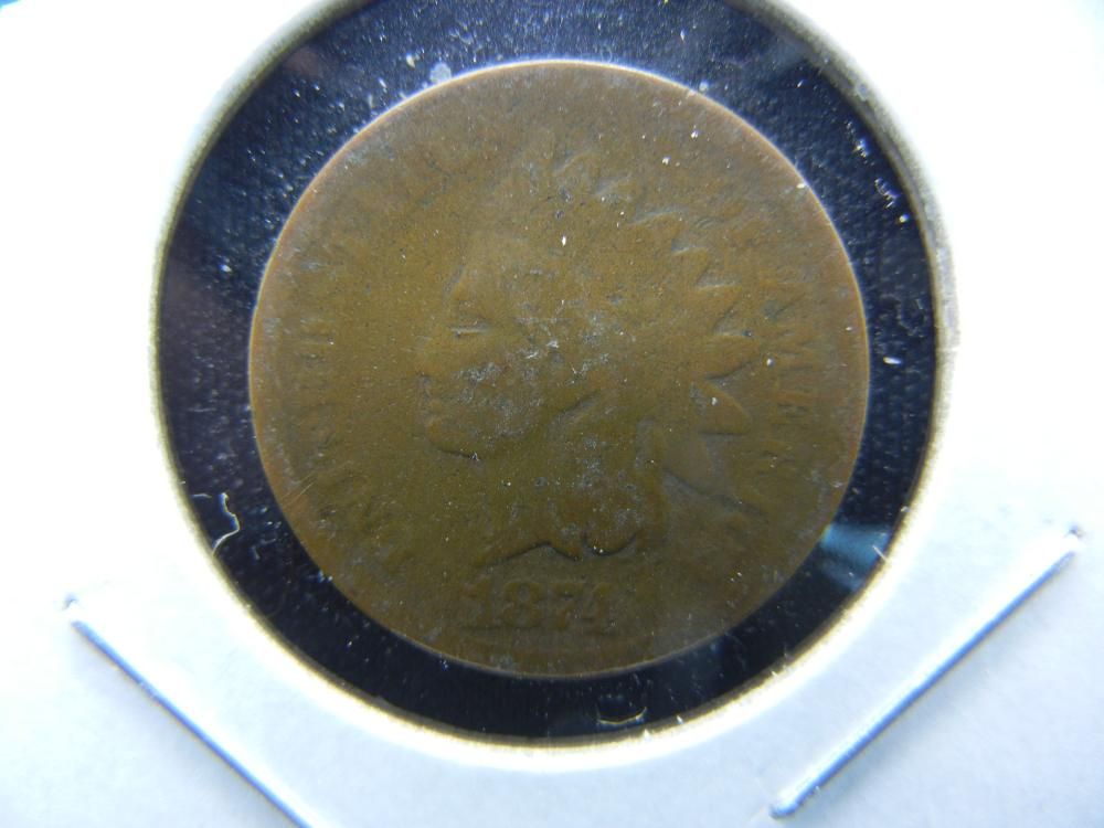 1874 Indian One Cent .  Good.
