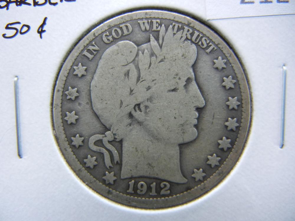 1912-S Barber Half Dollar.  VG.
