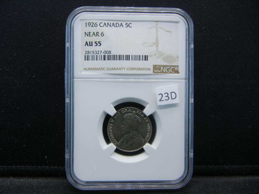 1926 Canada Five Cent Piece .  NGC AU 55.  Near 6.
