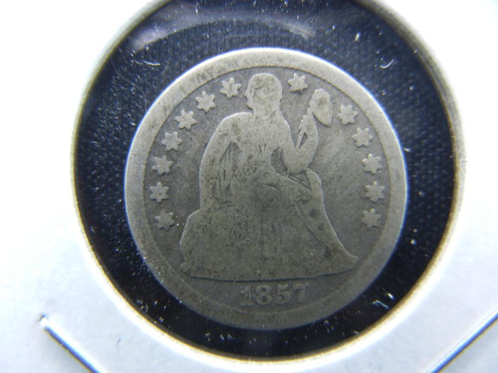 1857-O Seated Dime.  VG.  Scarce.