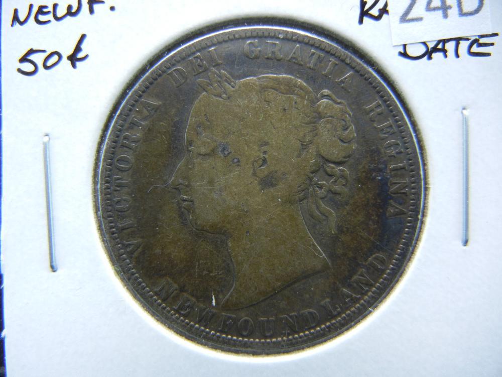 1873 Newfoundland Half Dollar .  VG.  Rare Date.