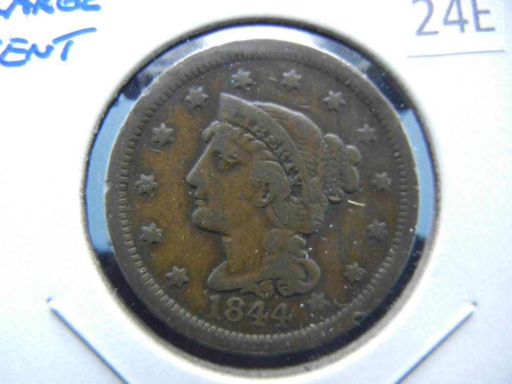1844 Large Cent.  VG+.
