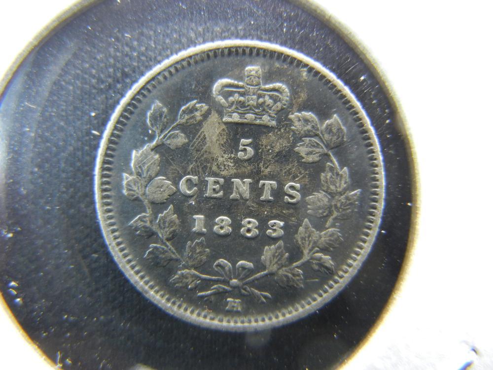 1883-H Canada Five Cent Piece  Silver.  XF.  Scarce.