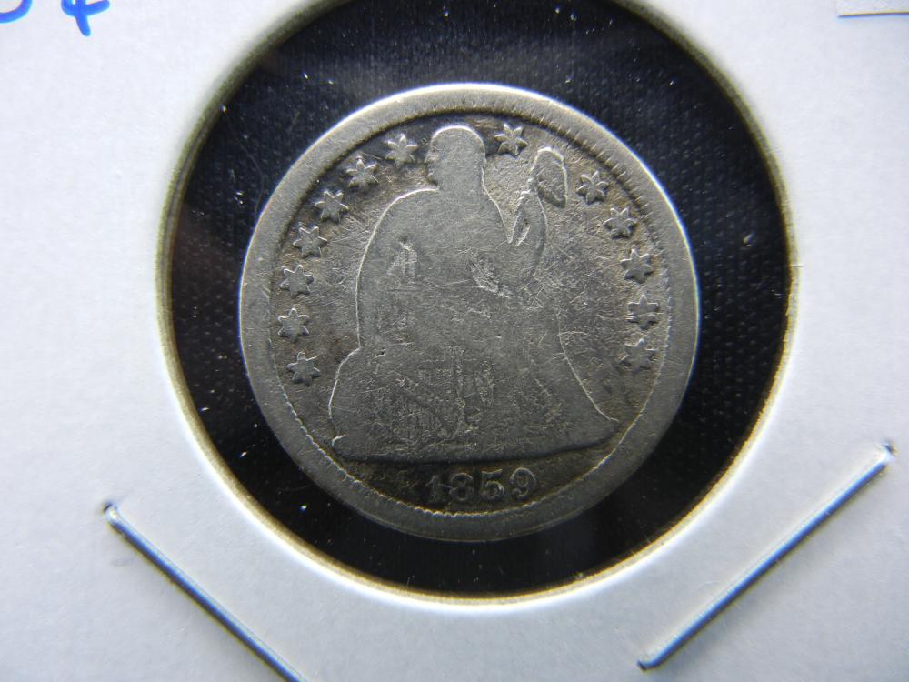1859-O Seated Dime.  VG.  Scarce.
