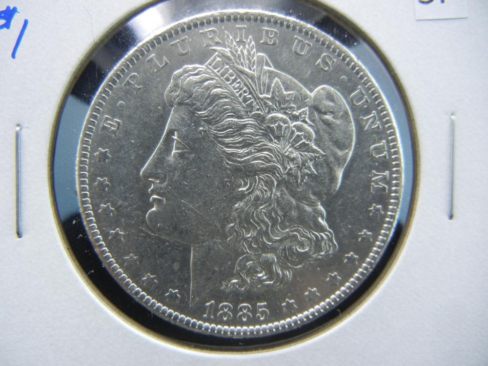 1885-O Morgan $1.  AU.