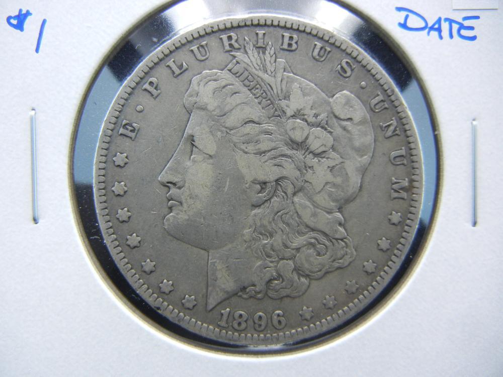 1896-O Morgan $1.  VF.  Better Date.