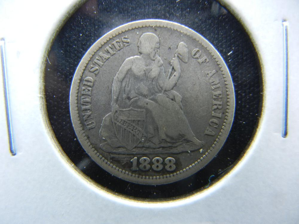 1888 Seated Dime.  VF Details.