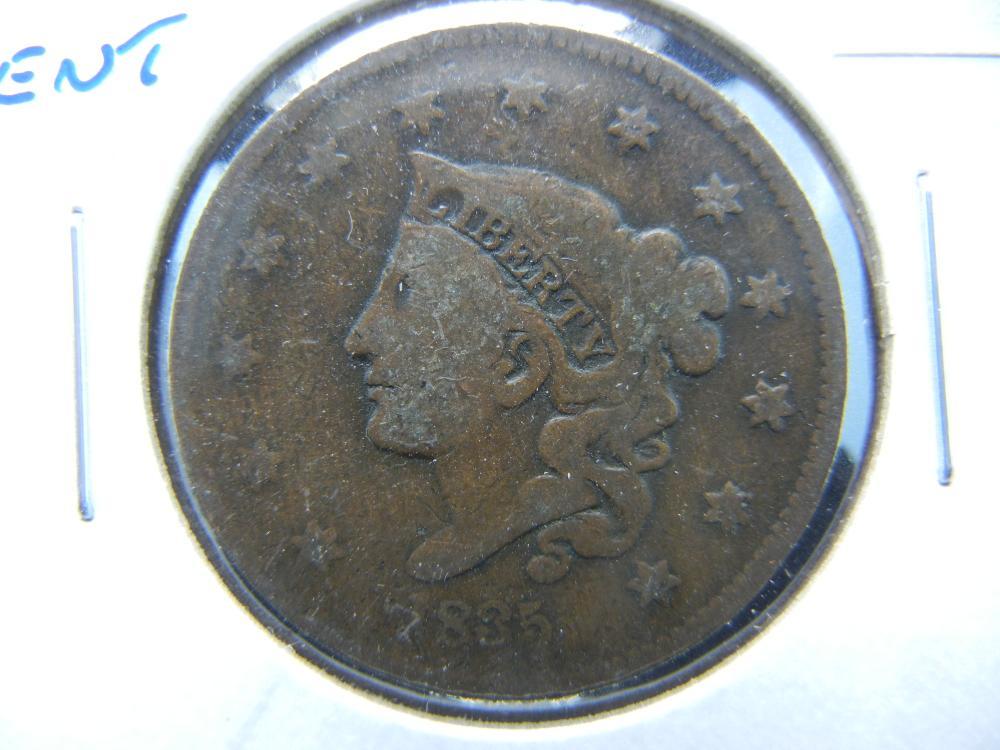 1835 Large Cent. VG.