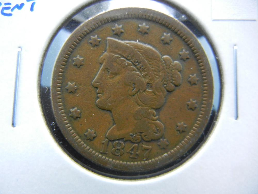 1847 Large Cent.  VG.