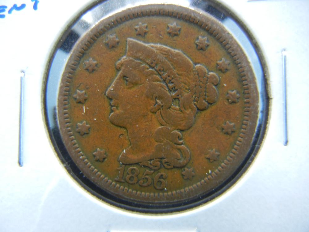1856 Large Cent.  VG.
