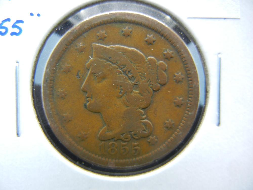 "1855 Upright ""55"" Large Cent.  VG."