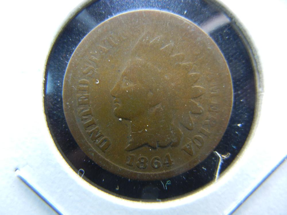 1864 Bronze Indian One Cent .  Good+.