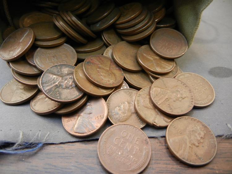 12 Pound First National Bank of Nevada Cloth Bag of Wheat Pennies