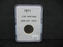 1871 Indian Head Cent - Key Date Low Mintage