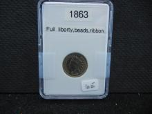 1863 Indian Head Cent - Full Liberty, Beads, & Ribbon